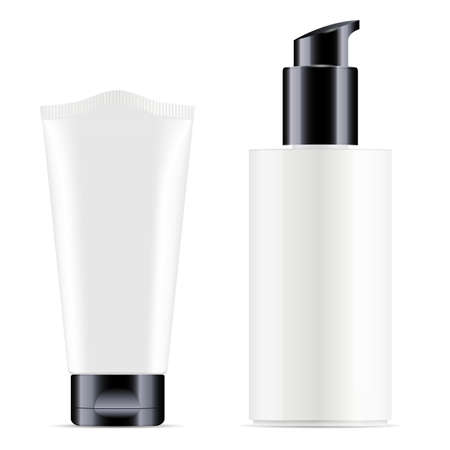 Black pump dispenser bottle. Plastic cream tube. Beauty lotion container, face skin care gel. Makeup cleanser cosmetics, realistic isolated jar blank. Black cosmetic tube set