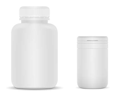 White plastic supplement jar. Vitamin bottle vector blank, 3d cylinder package. Large pharmaceutical pill pack. Round tablet tube, empty matte plastic can, realistic aspirin medication packaging Illustration