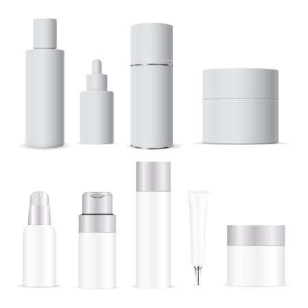 White cosmetic bottle. Cream, lotion tube vector blank. Shampoo package mockup. Liquid soap pump dispenser packaging. Cosmetic bottles set. Serum dropper, spa balm, bath hygiene, skin care
