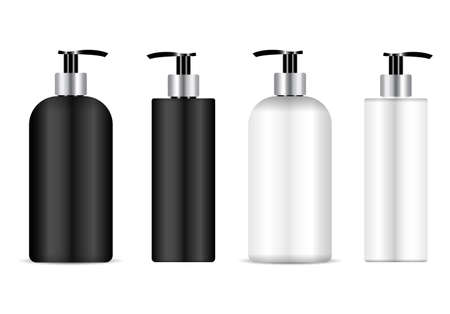 Pump bottle mockup. Cosmetic dispenser bottle pack for shampoo, lotion plastic container. antibacterial liquid template blank. Moisturizer can template. Plastic packaging for cleanser