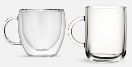 Glass mug. Transparent glass tea cup, isolated vector illustration on white background. Coffee drink double wall cup mockup. Realistic hot cappuccino jar, kitchen glassware set