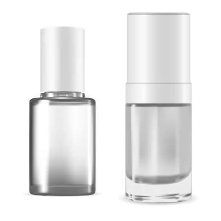 Nail polish bottle. Manicure enamel pack, vector illustration isolated on white background. Varnish container mockup. Nailpolish package blank, lacquer cylinder bottle colorless set, fingernail gloss