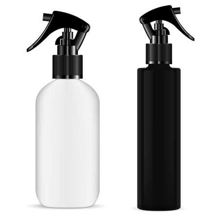 Spray bottle trigger. Cosmetic pistol sprayer mockup. Kitchen cleaner flask. Realistic hair sprayer, aromatic scented essence flacon, organic naturopathy. Pump flask