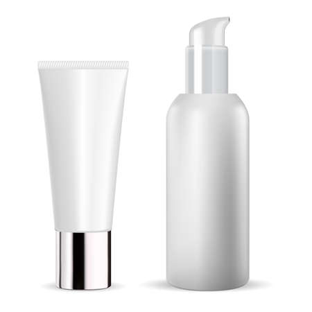 White cosmetic bottle. Cream tube vector mockup. Cosmetic serum package template mock up blank. Toothpaste packaging design. body ointment flacon. Face moisturizer essence dispenser
