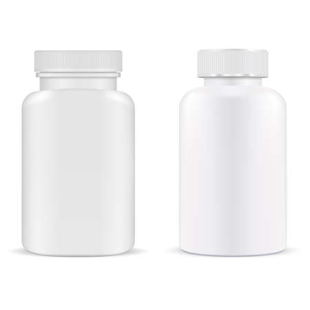 Pill bottle. Plastic supplement container vitamin capsule jar isolated, 3d mockup. Medical tablet product template. Prescription medication packaging design. Pillbox, antibiotic cure. Medicine package Illustration