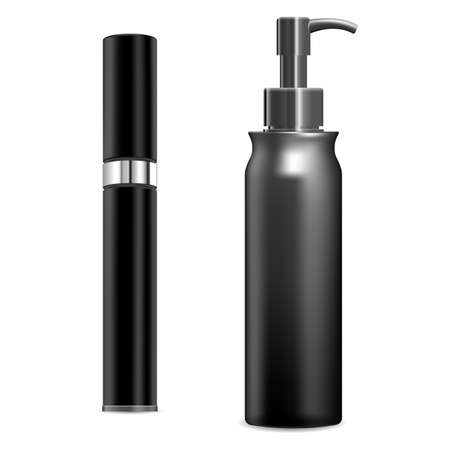 Cosmetic spray mockup. Plastic container blank, vector, on white background. Pump cream tube template. Dispenser bottle mockup for beauty product, round pack. Realistic parfum design