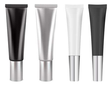 Cream tube mockup. White cosmetic package blank, isolated vector. Silver, black container for skin care beauty product. Face or hand cream plastic tube