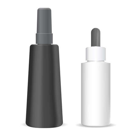 Cosmetic dropper bottle. Drop serum vial isolated packaging. Eyedropper bottle flask for essential oil liquid. Luxury plastic package with pipette. Aroma treatment product template Illustration