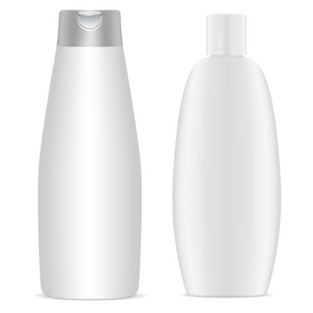 Shampoo bottle. White plastic cosmetic bottles blank, 3d mockup template. Body gel package collection. Round packaging for bath product. Milk or soap container, health and hygiene