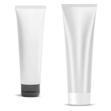 Cosmetic cream tube blank, vector plastic package isolated on white. Beauty gel container mockup with cap. Toothpaste product packaging. Realistic face creme wrapper design set, squeeze Illustration