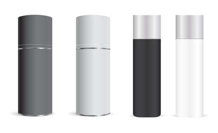 Spray bottle mockup. Aerosol can, cylinder deodorant. Aluminum metal container blank for freshener. Realisit cantiperspirant tin or hairspray tin mock up. Metallic tube with plastic cap