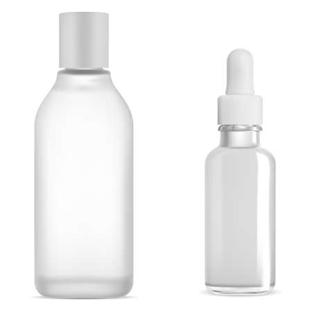 Cosmetic dropper bottle white glass mockup, serum and tonic whater product, isolated on white background. Vector oil drop vial, clear tonic flask. Micellar water container. Skin collagen