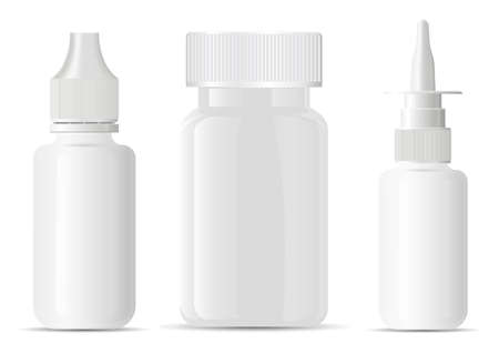 Nasal spray bottle. Pill bottle container blank mockup. Medical aerosol jar, nose sprayer dispenser template. Eye drug dropper mock up, small dose. Empty medicament tablet supplement vitamin Illustration