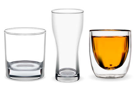 Whiskey glass isolated. Transparent alcohol cup vector illustration, bourbon drink. Beer glass mockup, restaurant glassware. Scotch whiskey tumbler set, bar drunk without ice rocks