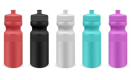Sport water bottle. Isolated plastic fitness bottle template. Bike flask blank mockup, reusable container design, adventure equipment, summer travel