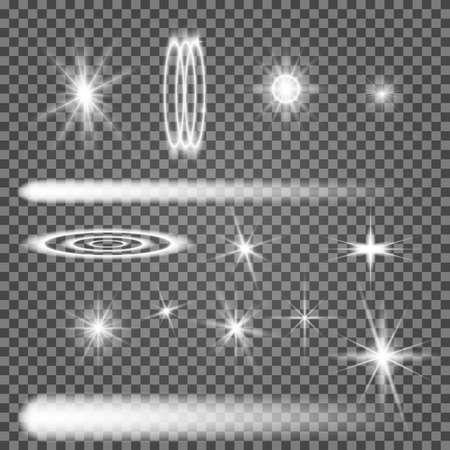 Vector star light glow. Spark shine. White flare effect illustration on transparent background. Shiny christmass sparkle. Magic sunlight ray. Special lens glitter element. Explosion burst