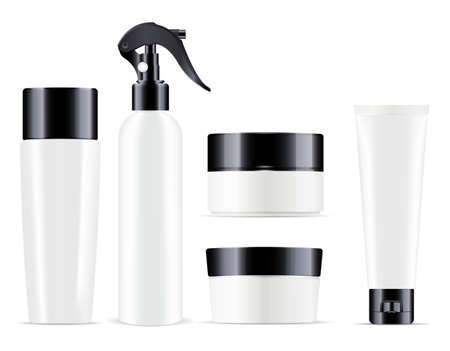 Cosmetic product bottle blank. Beauty package, 3d set, white realistic pack. Cream jar, cosmetic dispenser premium collection. Shampoo or soap tube, liquid shower gel design Illustration
