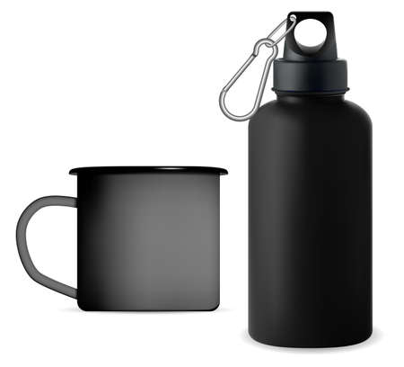 Black metal sport water bottle. Reusable camping cup moockup. Outdoor fitness thermo bottle, reusable tin template. Enamel mug retro design, realistic camping product package
