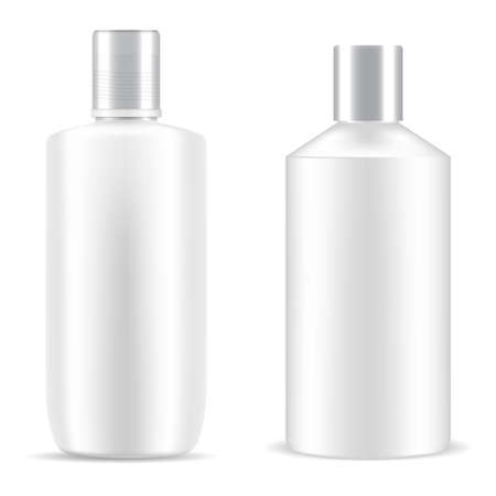 Bottle shampoo cosmetic. White package plastic mockup. Cosmetic product cylinder container, bath gel realistic tubular design. Beauty container vector object, skin care packing template collection Illustration