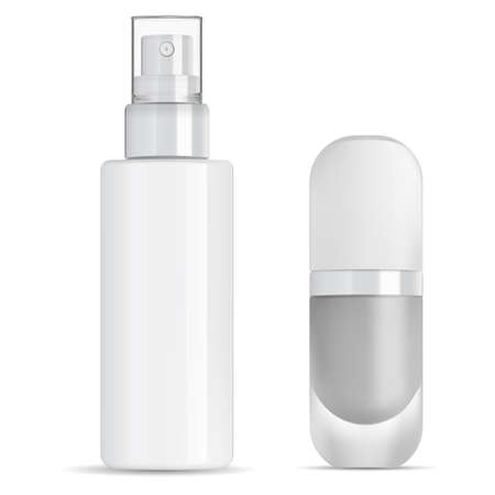 Spray cosmetic bottle. Foundation package mockup. Mist pump container blank. Makeup foundation bottle glass for commercial or advertising. Parfum fragrance deodorant. Concealer object