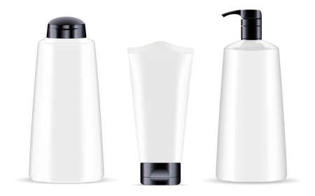 Cosmetic product bottle white. Cream tube vector package, 3d. Pump bottle, lotion, gel pack design. Pump dispenser liquid soap, illustration on white background. Makeup cosmetic set, face, body, hair