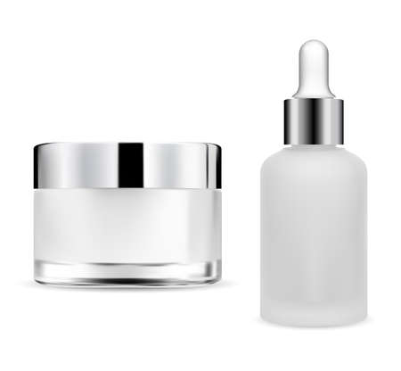 Cream jar, dropper bottle transparent glass, serum package with eye drop cap, 3d blank. Silver lid flask, creme container on white background. Skin beauty product, makeup. Essential vial eyedropper Illustration