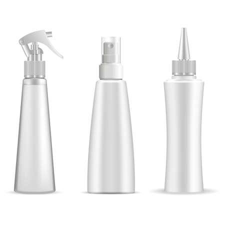 Spray bottle. Cosmetic spray mockup, trigger pump spray, plastic packaging, vector blank. Merchandise product container, pistol spray cap realistic template. Hairspray dispenser, bathroom deodorant