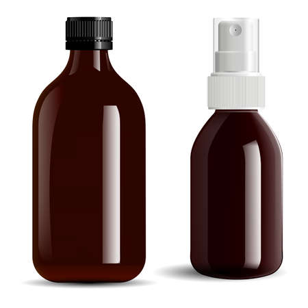 Brown glass bottle. Amber essential oil vial mockup. Screw cap apothecary spray bottle, pharmaceutical container. Prescription liquid cure jar concept, realistic design blank. E juice packaging