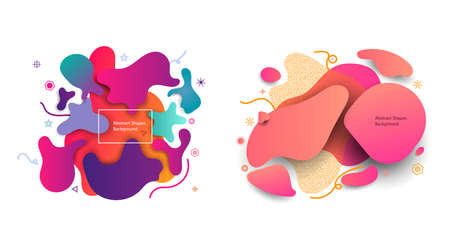 Abstract shape design. Organic vector banner element. Liquid graphic background design, geometric  with wave fluid gradient. Modern color curvy space. Minimal dynamic paint, poster template 矢量图像