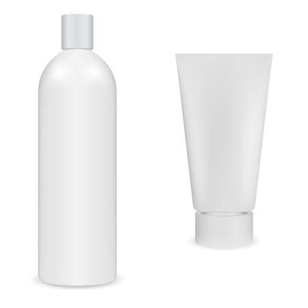 Shampoo bottle, hand cream tube, cosmetic package. White plastic container blank. Body skin beauty product packaging design, ralistic illustration mock up. Hair shampoo, toothpaste tube