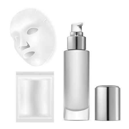 Face mask with pouch. Facial mask silver package cosmetic mockup. Facial sheet foil or paper sachet design, 3d sample of disposable bag. Natural hydrating collagen moisture product template