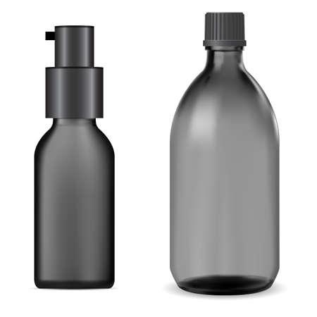 Black glass bottle. Syrup jar mockup, liquid vitamin flask, oil essence. Medical tincture vial, plastic screw cap, pharmaceutical packaging. Serum bottle blank, realistic container 矢量图像
