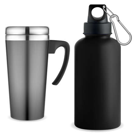 Thermo mug whater bottle. Reusable thermo tumbler. Travel cup for coffee or cold drink. Travel sport mug mockup. Portable vacuum cup, stainless steel thermic vessel for camping. Isolated vector 矢量图像