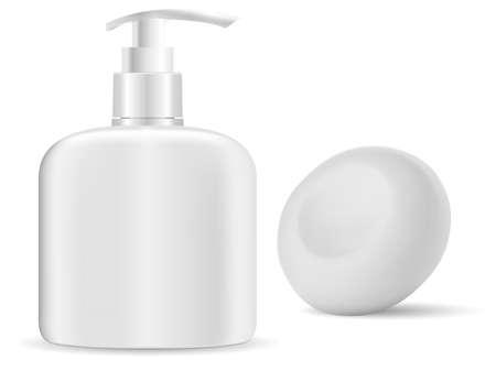 Hand sanitize bottle. Soap dispense, liquid gel container. Solid soap bar mockup, isolated 3d illustration. Realistic disinfectant package, hand wash box. Shower cream pump bottle mock up 矢量图像
