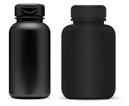 Black pill bottle mockup. Supplement jar mock up, plastic container design. Prescription tablet jar blank, isolated product. Sport supplement can, vitamin box, powder. Medicine bottle
