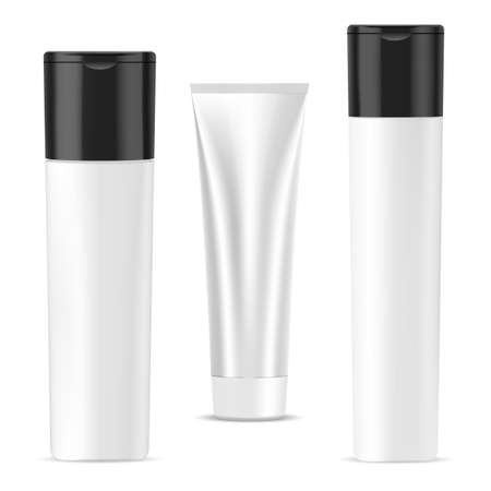 Shampoo bottle, cream tube, cosmetic package mockup. Bath gel or soap container, 3d vector design collection. Shower product container, facial care perfume. Facial cream collection