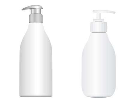 Pump bottle. Cosmetic shampoo dispenser. Moisturizer lotion 3d vector package. Pump dispenser bottle design, face skin treatment illustration. Batcher package sample. Medicine valve bottle