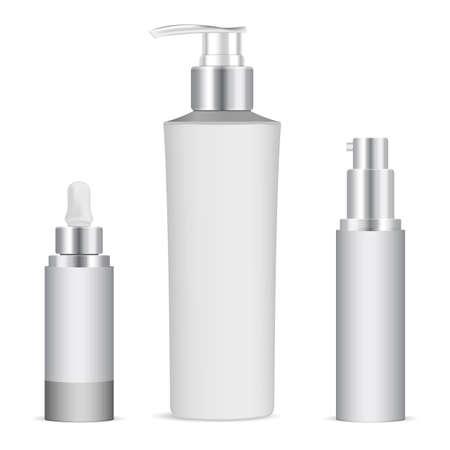 Serum dropper bottle. Eye skin care essence packaging. Cosmetic bottle with dispenser cap for beauty gel. Lotion flask with batcher, beauty jar sample. Essential oil vial mockup, moisturizer