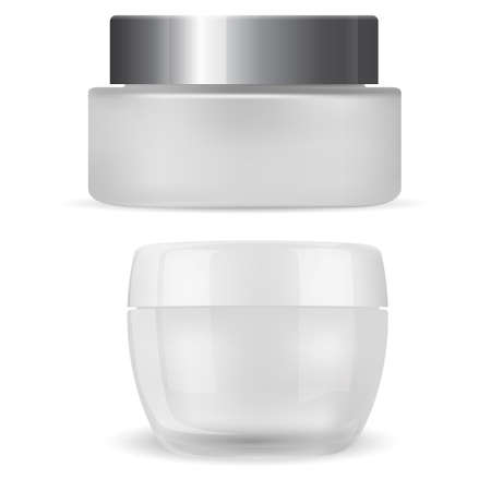 Cream jar. Cosmetic package mockup, plastic container realistic 3d vector. Face skin beauty product, round cosmetic cream. Simple realistic glass jar, branding identity, product logo. Cosmetic bottle