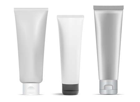 Cream tube mockup. Cosmetic cream package, glue. Toothpaste tube, realistic 3d product blank. Facial skin care gel bottle. Medical ointment tube isolated on white background. Bath, body care