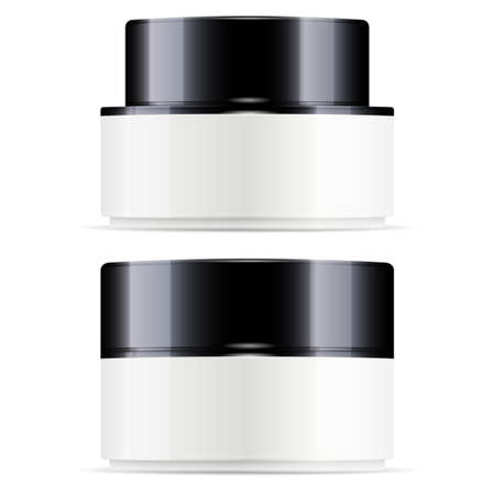 Cosmetic cream gloss pack. Body cream jar mock up. Premium round canister, face skin powder. Round creme pot, glossy glass, for branding cosmetics, wax, gel, woman moisturizer mask