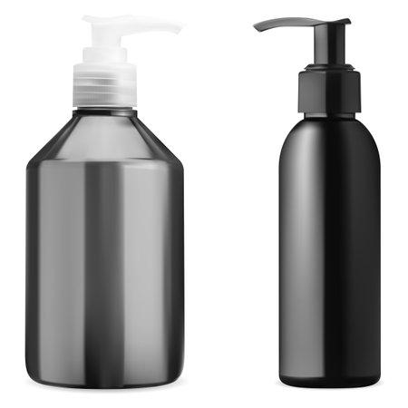 Cosmetic bottle mockup. Cleanser gel pump bottle. Pump dispenser package, black container set for liquid detergent or foam. Skin oil or hand wash cream packaging with pump valve, 3d template 矢量图像