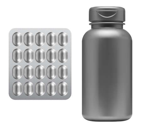 Pill bottle, medicine capsule blister mockup. Supplement jar blank. Plastic drug container isolated. Pharmaceutical medicament product can template. Prescription cure drugs, aspirin remedy set 矢量图像