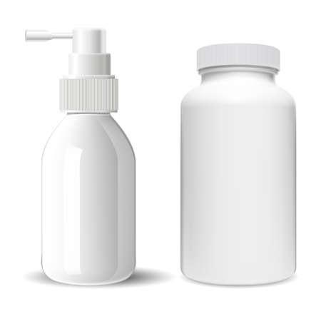 Supplement pill bottle. Throat spray medical bottle. Sprayer container illustration. Pharmaceutical tablet jar, antibiotic capsule product. Nose allergy sprayer tube, pump dispenser bottle