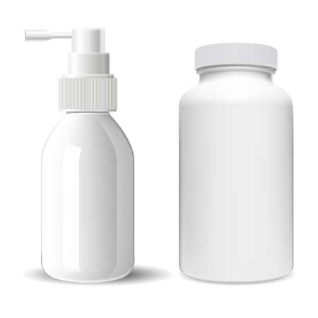 Supplement pill bottle. Throat spray medical bottle. Sprayer container illustration. Pharmaceutical tablet jar, antibiotic capsule product. Nose allergy sprayer tube, pump dispenser bottle 向量圖像
