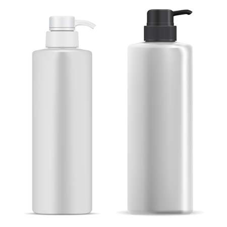 Pump bottle. Cosmetic lotion dispenser white plastic mockup. Moisturizer product container, realistic vector template. Pump batcher bottle, detergent or face cream. shower gel tube, serum