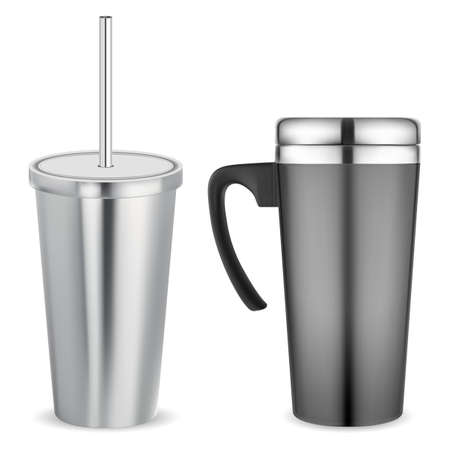 Thermo mug, metal travel cup. Stainless cup vacuum, insulated template. Thermal flask, portable sport bottle. Aluminum shake jar isolated. Hot tea cup mock up.