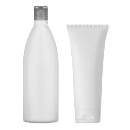 White shampoo bottle mockup. Cosmetic cream tube for toothpaste or face gel. Hair lotion bottle, shower product. Facial beauty container. Medical pvc plastic bottle, glue tube