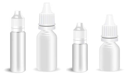 Eye drop bottle. E juice dropper, atomizer spray mockup. Nose allergy dispenser container template, vector packaging. Electronic vapor jar, oil product
