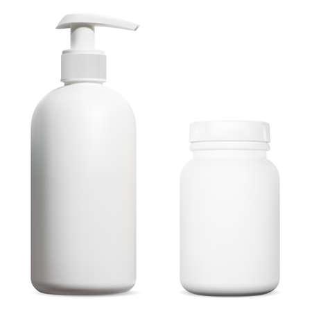 Hand sanitize pump bottle. Vitamin supplement bottle. Medicine disinfection dispenser against coronavirus, alcohol detergent pharmaceutical container mockup. Pill jar mockup Vektorgrafik